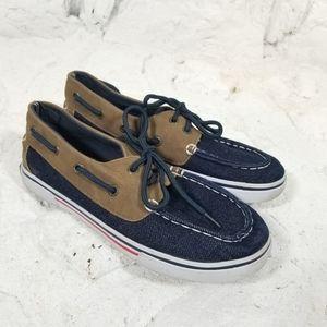 Nautica Boys Sz 2 Canvas Boat Shoes Canvas Suede L